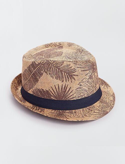 Chapeau borsalino imprimé                                         brun