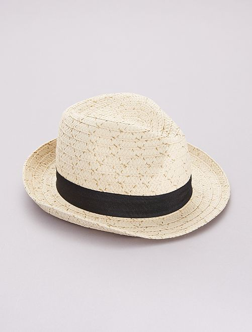 Chapeau borsalino pailleté                     beige/noir