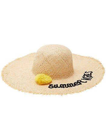 Chapeau capeline avec pompon - Kiabi