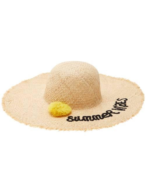 Chapeau capeline avec pompon                                         noir