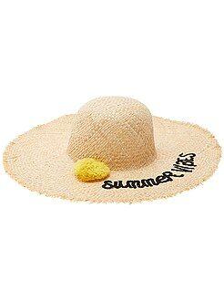 Femme du 34 au 48 - Chapeau capeline avec pompon - Kiabi