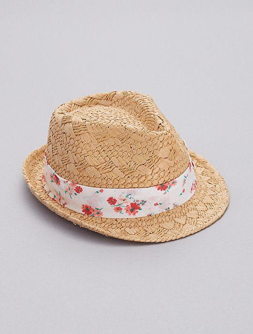 Chapeau de paille à fleurs                             beige