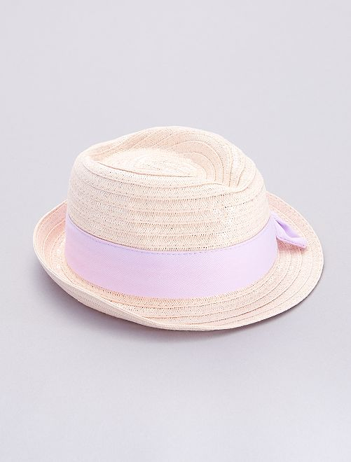 Chapeau de paille à sequins                             rose