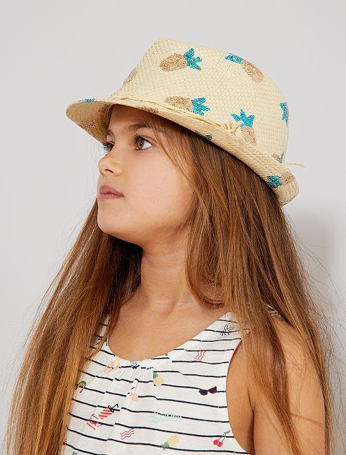 Chapeau de paille 'ananas'                             beige Fille