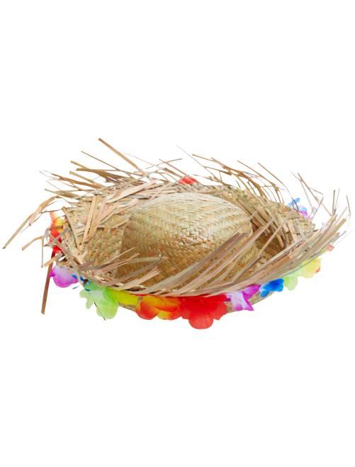 Chapeau de paille avec fleurs Hawaï                             beige