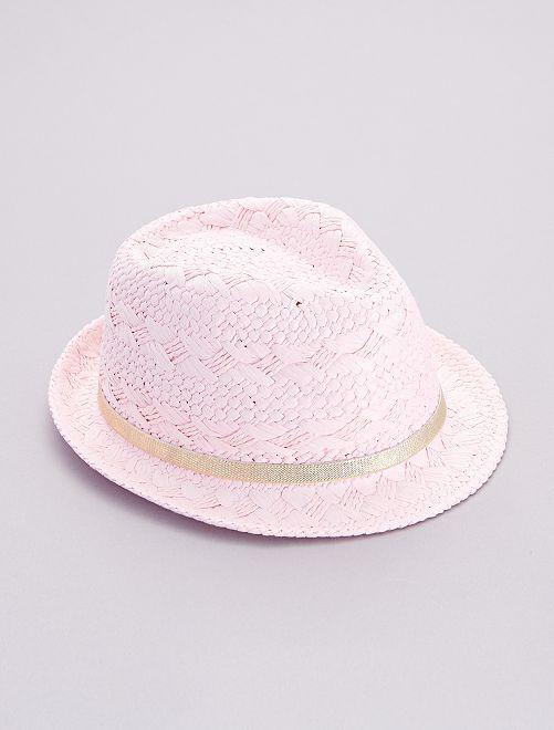 Chapeau de paille liseré doré                             rose
