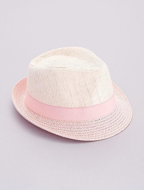 Chapeau de paille 'Minnie'                             rose