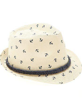 Garçon 3-12 ans - Chapeau de paille type panama imprimé - Kiabi