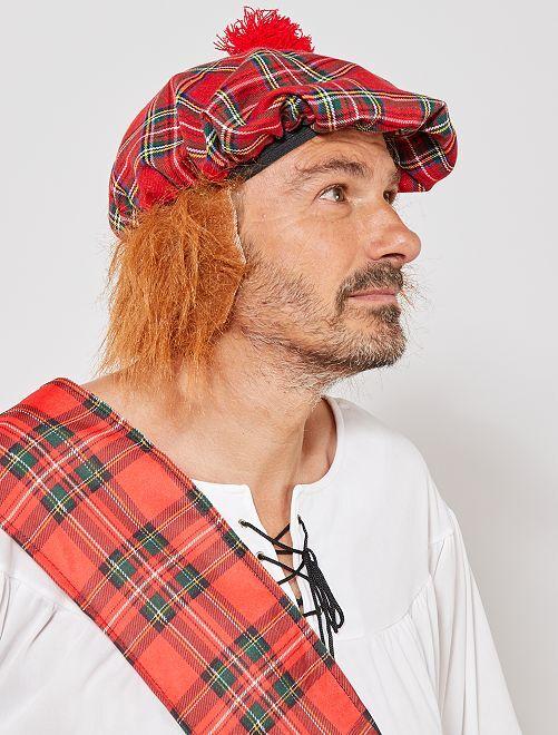 Chapeau écossais avec faux cheveux                              rouge