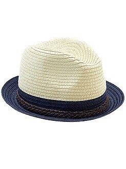 Chapeau en paille bicolore