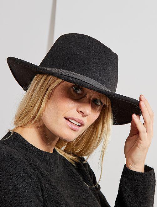 Chapeau fédora détail 'écaille'                                         noir Femme