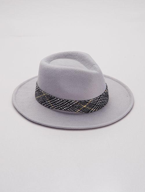 Chapeau fédora détail 'jacquard'                                         gris