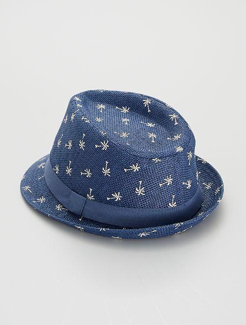 Chapeau imprimé 'palmier'                             bleu