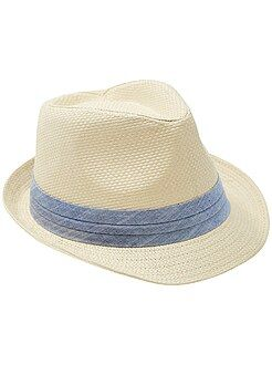 Accessoire - Chapeau paille forme borsalino - Kiabi