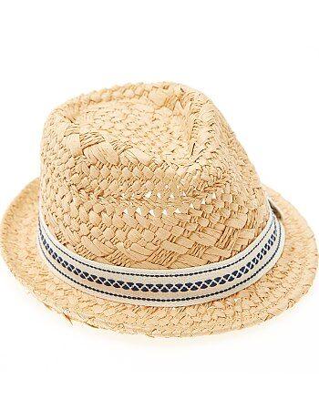 Garçon 3-12 ans - Chapeau paille forme borsalino - Kiabi