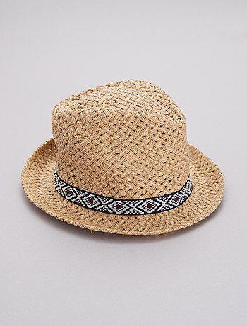 Chapeau style borsalino détail ethnique