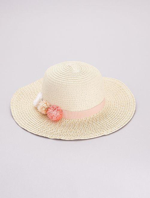 Chapeau style capeline avec fils dorés                                         rose pâle