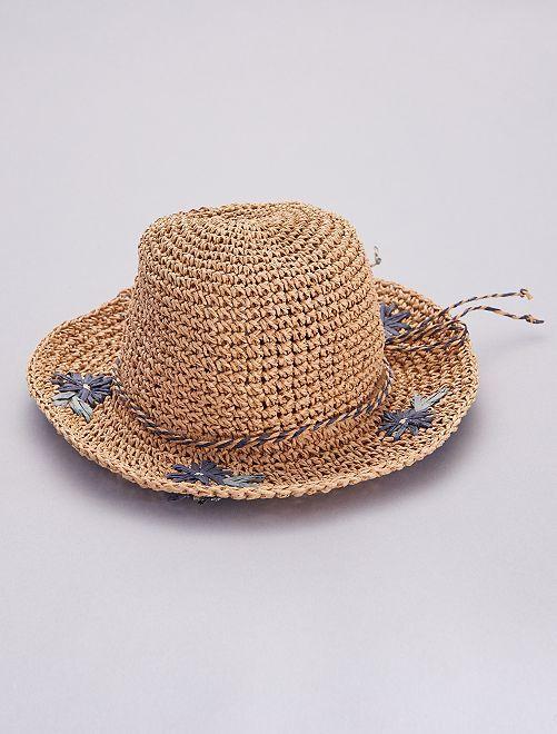 Chapeau style capeline en paille 'fleurs'                             BEIGE