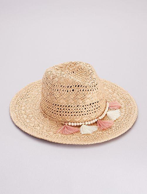 Chapeau style fedora en paille                             beige