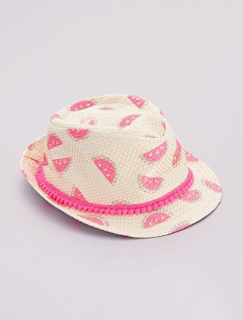 Chapeau style panama 'pastèques'                             beige