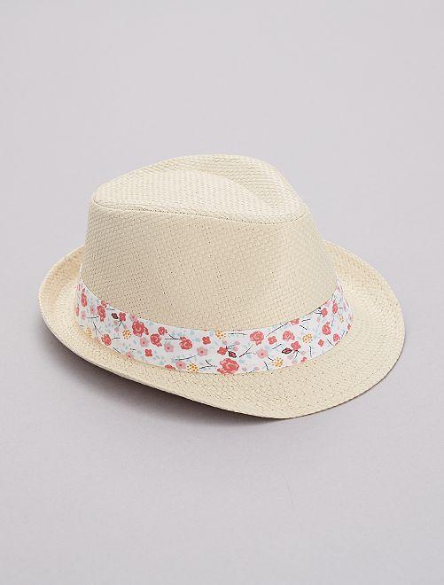 Chapeau tressé bande 'fleurs'                                         blanc fleurs Fille