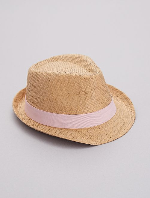 Chapeau tressé bande rose                                         rose Fille