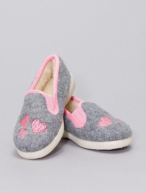 Charentaises 'cœur' intérieur laine                             gris/rose