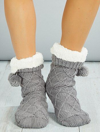 chaussettes chaussons doubl s sherpa femme gris kiabi. Black Bedroom Furniture Sets. Home Design Ideas
