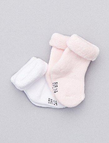 Chaussettes maille bouclette par lot de 2 paires                                                                 blanc/rose Bébé fille