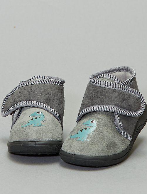 Chaussons à scratch velours                             gris