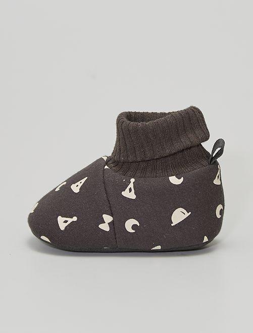 Chaussons avec revers chaussettes                                         GRIS