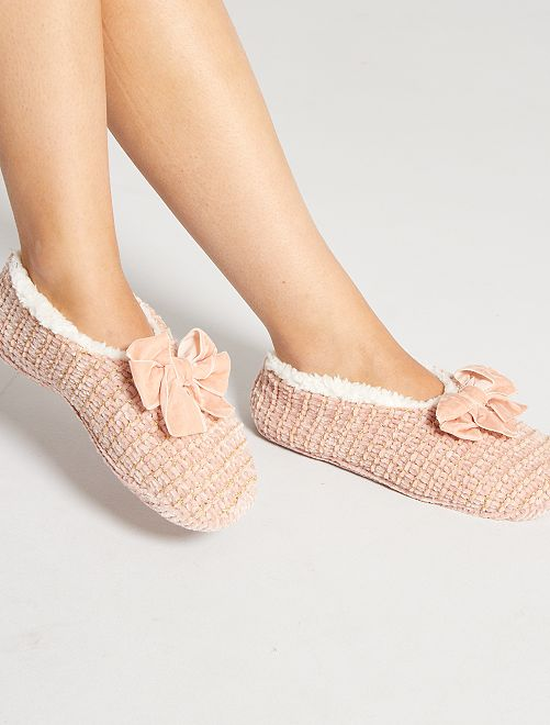 Chaussons ballerines en tricot                                                     rose