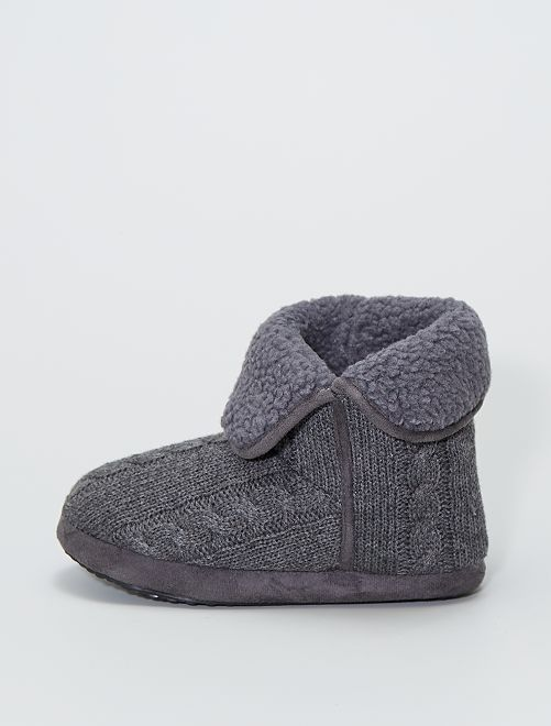 Chaussons boots effet tricot                                         gris