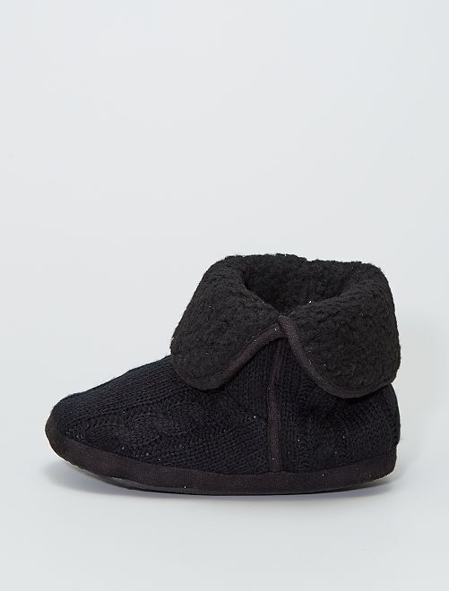 Chaussons boots effet tricot                                         noir