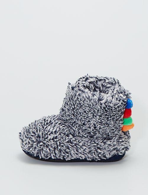 Chaussons boots en maille peluche                                         bleu