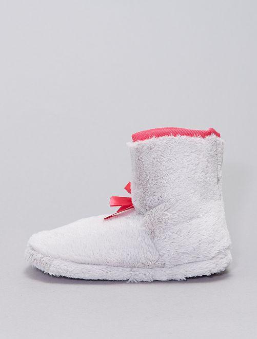 Chaussons boots en maille peluche                                         gris