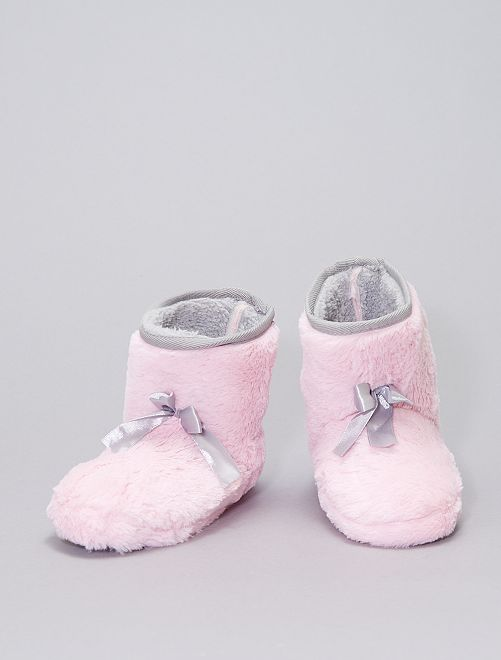 Chaussons boots en maille peluche                                         rose