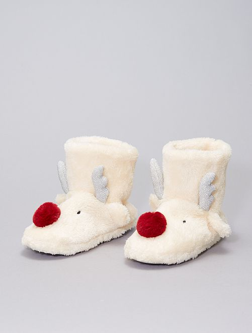 Chaussons boots en polaire                             beige