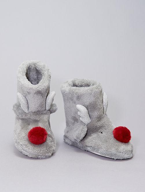 Chaussons boots en polaire                                         gris