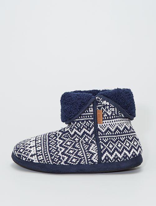 Chaussons boots en tricot                                         bleu