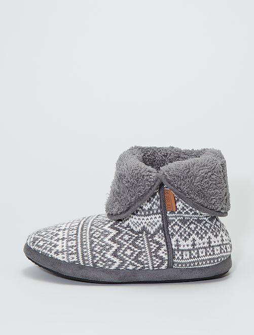 Chaussons boots en tricot                                         gris
