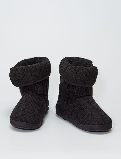 Chaussons boots en tricot                                         noir