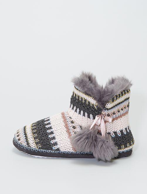 Chaussons boots en tricot                                         noir/rose