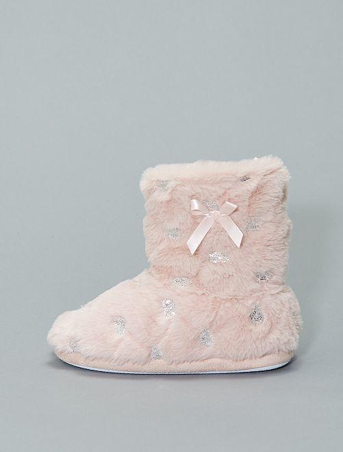 Chaussons boots fourrées sequins                             rose