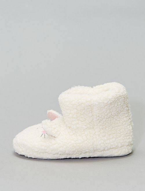 Chaussons boots 'souris'                                         blanc Fille