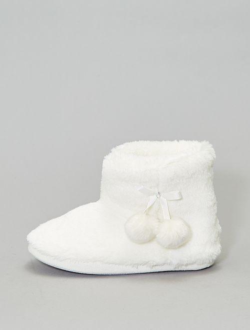 Chaussons bottes fourrés                             blanc Femme