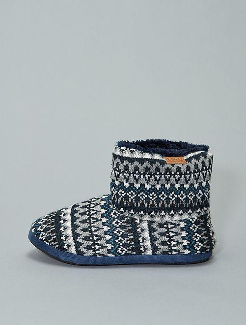 Chaussons bottes fourrés tricot                                         bleu marine Homme
