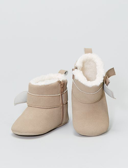 Chaussons bottines fourrés façon sherpa                             beige