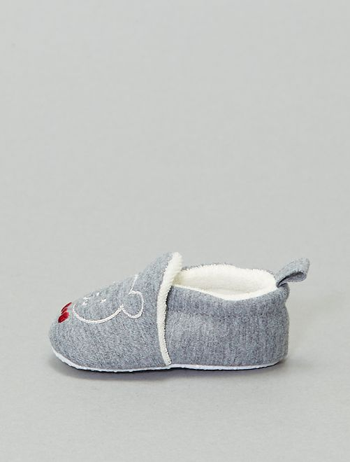 Chaussons broderie 'lapin'                                         anthracite