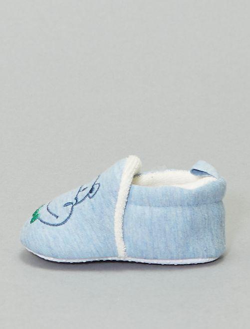 Chaussons broderie 'lapin'                                                                 bleu ciel